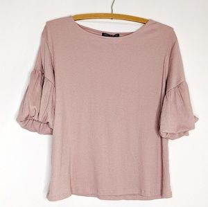 Cable & Gauge Blush Balloon Sleeve Top